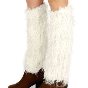 Curly furry faux fur boot covers